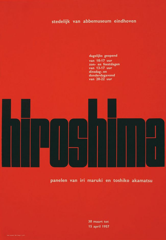 "Hiroshima / 88 x 60 cm Perfect poster. How the type is aligned with the negative space of the ""r"" creates so much balance"