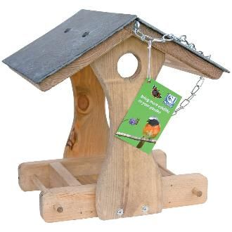 New York Slate Roof Hanging Table (fsc)  This wooden feeding table with its feature slate roof will be a welcome sight to your feathered friends.