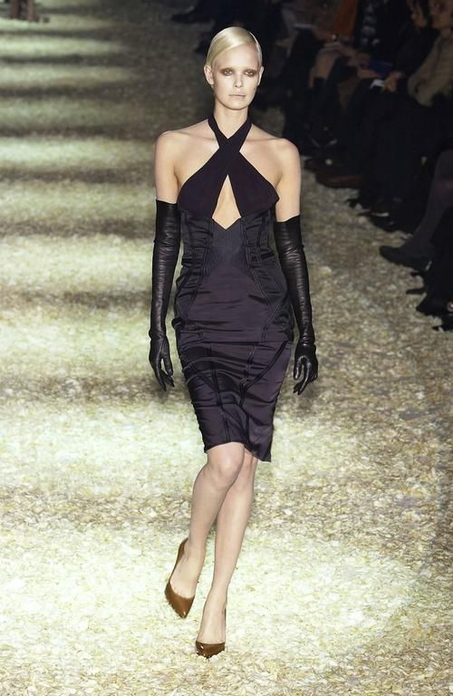 TOM FORD for GUCCI Runway F/W 2003 Collection  Black Corset Dress It 42 - US 6  2