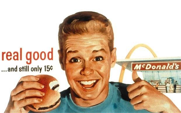 advertisements in 1950 | McDonald's advert from the 1950s. In 1960 , the McDonald's advertising ...
