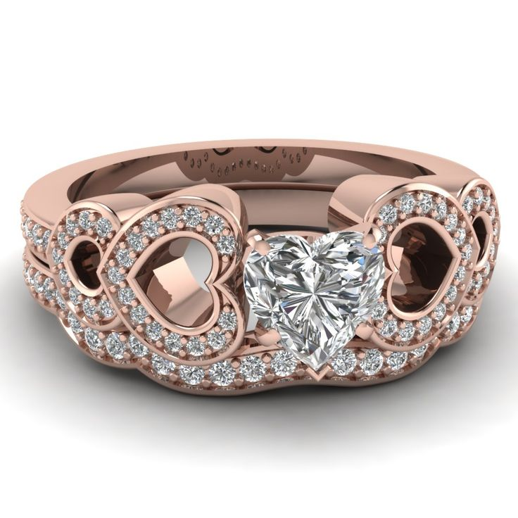 Heart Diamond Wedding Set | rose-gold-heart-white-diamond-engagement-wedding-ring-in-pave-set ...