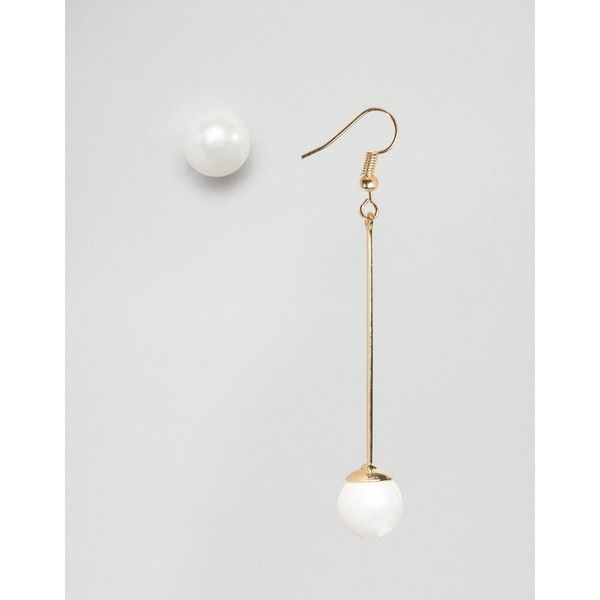 DesignB Mismatched Faux Pearl Drop Earrings ($10) ❤ liked on Polyvore featuring jewelry, earrings, gold, fish hook jewelry, stud earrings, fish hook earrings, faux pearl jewelry and faux pearl earrings