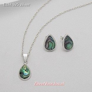 Echt 925 Zilveren abalone set hanger+oorbellen