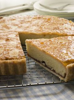 Bakewell Pudding - Victorian Recipe  -  225g of Puff Pastry (or shortcrust) *...5 med. eggs...  4oz. caster sugar...4oz. unsalted butter, melted...approx. 2 oz. ground almonds... 1/4 - 1/2 t. almond essence...Strawberry, Raspberry or Black Cherry Jam