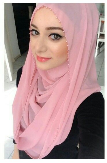Pink hijab with pearl lace