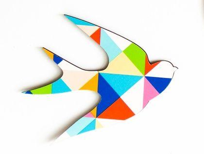 Flock of Birds Wall Art in Kaleidoscope Pattern - Set of 3 flying birds in silhouette