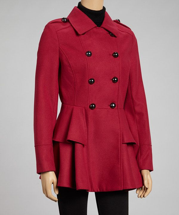 Take a look at this Miss Sixty Ruby Peplum Peacoat on zulily today!