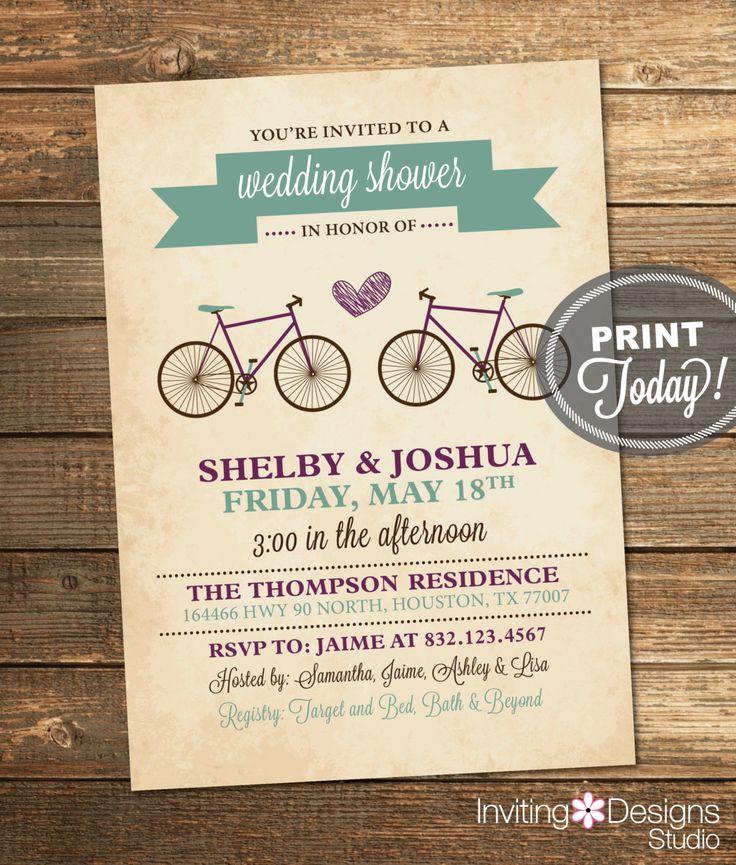 Bicycle Wedding Shower Invitation, Bridal Shower, Sage Green, Plum, Eggplant, Purple, Retro, Printable File (Custom, INSTANT DOWNLOAD) by InvitingDesignStudio on Etsy