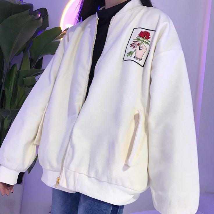 Rose hands embroidered bomber Jacket buy usa uk boogzel apparel