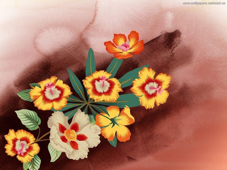 gratis desktop bakgrunner - Malt blomster: http://wallpapic-no.com/kunst-og-creative/malt-blomster/wallpaper-591