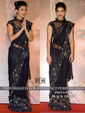 Priyanka Chopra Black Color Bollywood Saree- Indiana Lifestyle Online Shopping 1