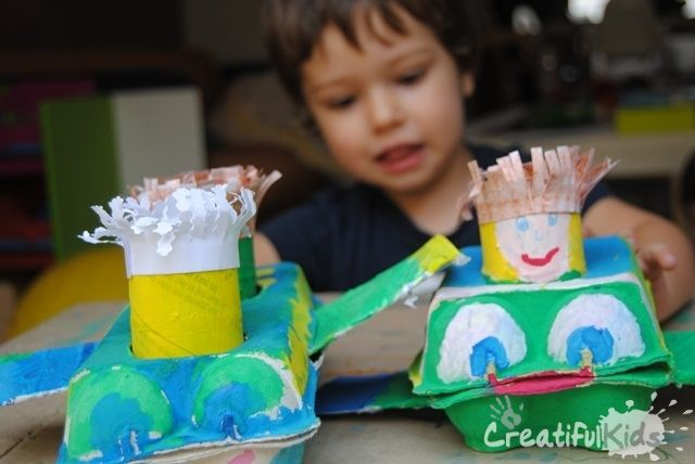 Easy Crafts with Toilet Paper Rolls and Egg Cartons – Plane and Pilot