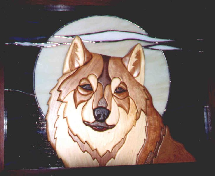 stained glass free patterns wolfs | Night Sentry