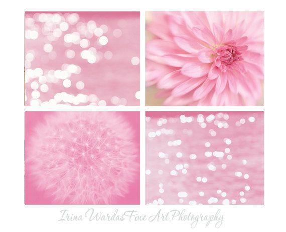 Fotografía rosa, juego de 4 pared 11 x 14 grabados, arte floral de diente de León, Resumen de luz chispeante, arte moderno cuarto de baño, decoración de dormitorios de niñas