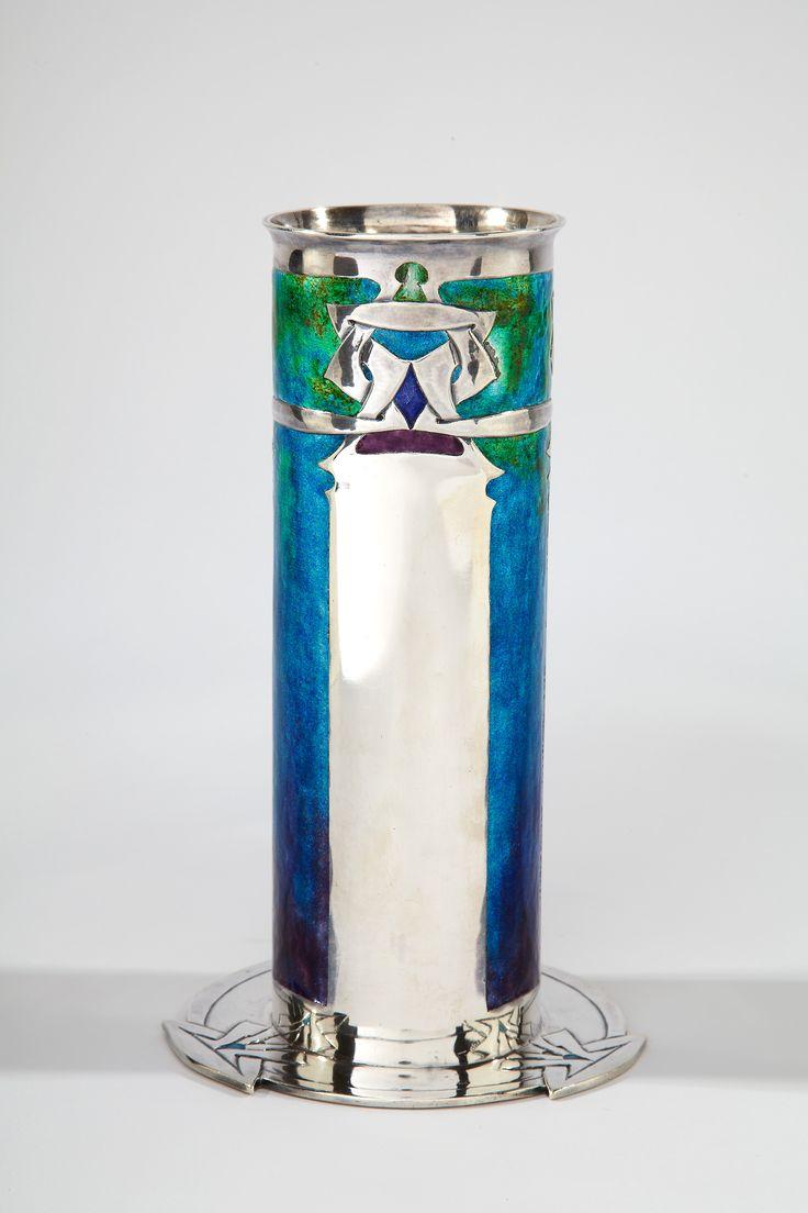 "@@ Archibald Knox (Manx, 1864-1933), ""Cymric"" Silver and Enameled Vase."