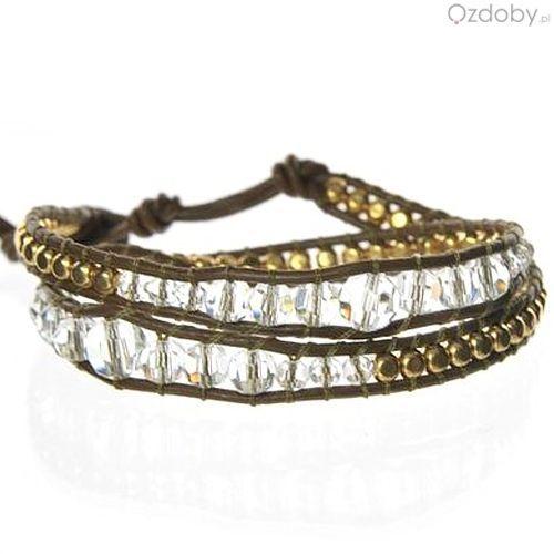 Bransoletka Sue z diamencikami w kolorze złota i srebra