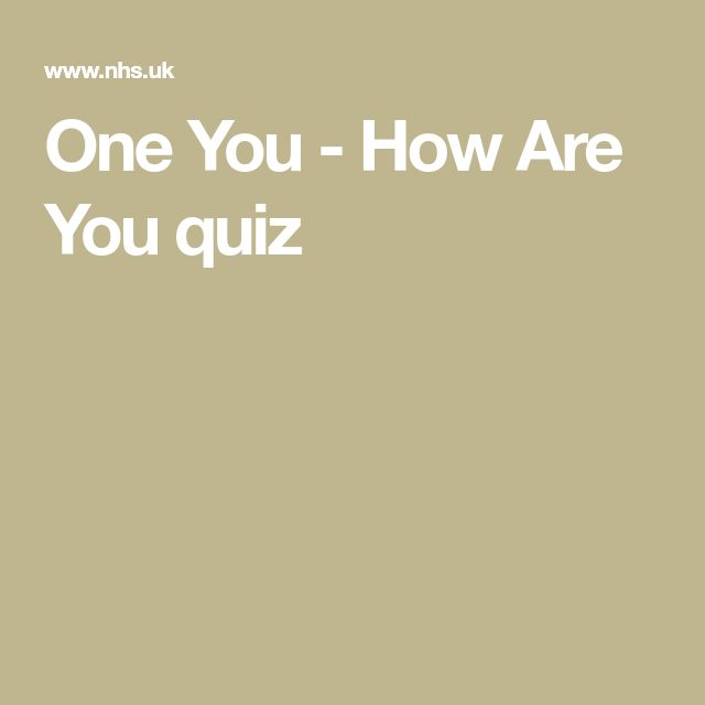 One You - How Are You quiz