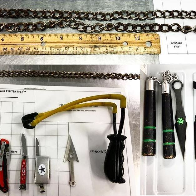 tsa All of these items were discovered in a traveler's carry-on bag at the Dallas Fort Worth International Airport (DFW). There must have been a really good sale at the flea market. #NinjasKeepTrying Dallas Fort Worth International Airport 2017/06/29 07:41:34