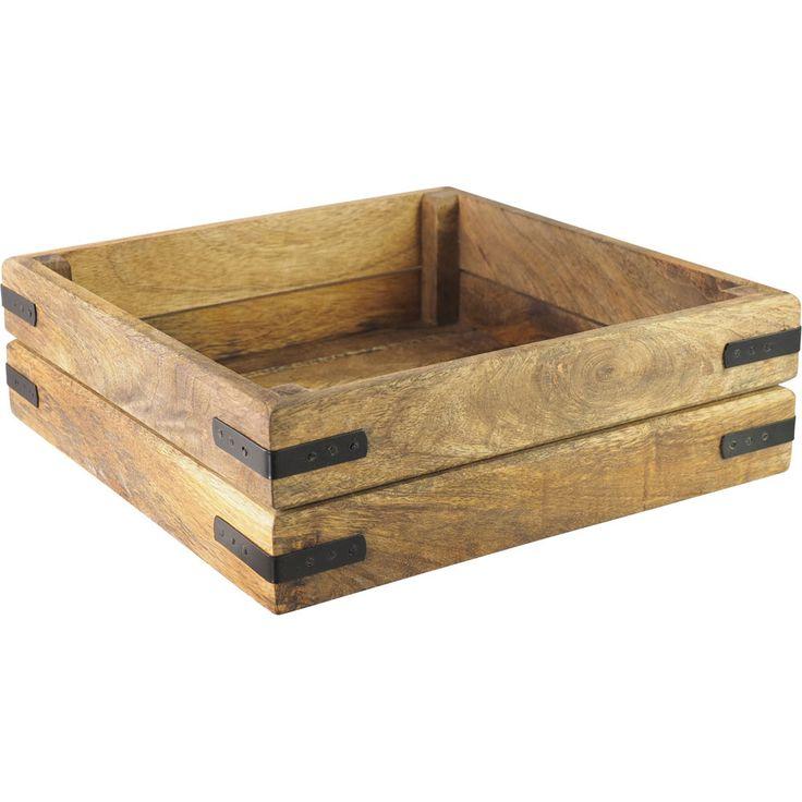 Gourmet Wooden Square Vegetable Basket Med