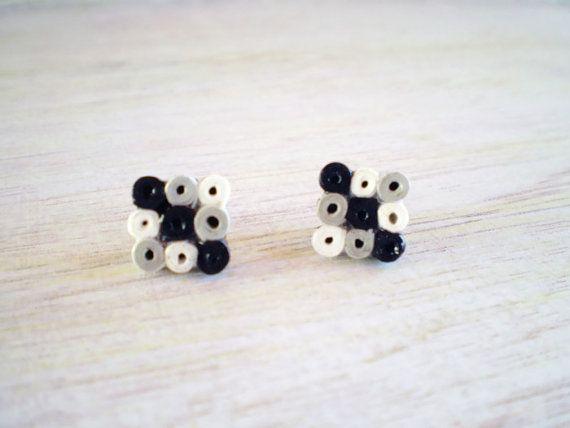 Black Grey White Paper Stud Earrings Minimal by LeftysHandcrafts, €8.00