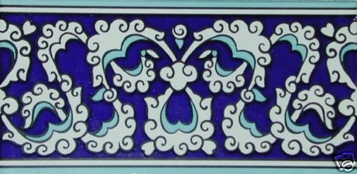 "Blue White 50 4""x8"" Turkish Ottoman Iznik Floral Ceramic Tile Border 
