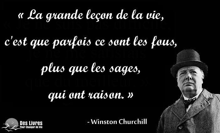 """""""La grande leçon de la vie, c'est que parfois ce sont les fous, plus que les sages, qui ont raison."""" - Winston Churchill http://www.des-livres-pour-changer-de-vie.fr/"""