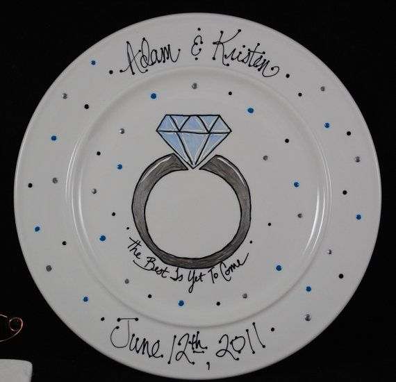 Personalized Engagement ceramic plate gift by HermansCreations, $30.00