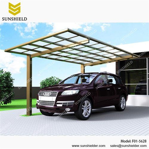 Flat Roof Aluminum Car Parking Shade with Polycarbonate Carport F01-5628 - 18.44*9.27*7.72ft/ 5620*2825*2352mm