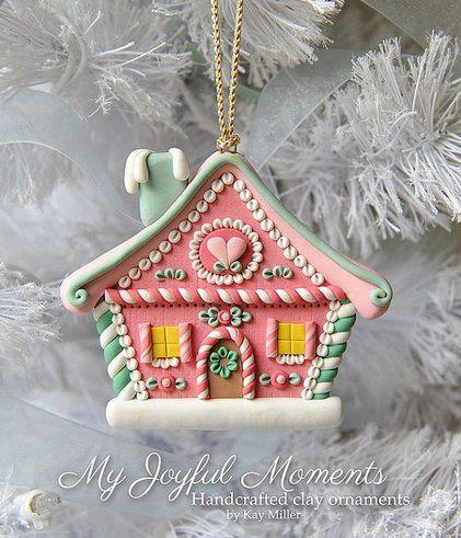 новогодний пряничный домик из полимерной глины 1