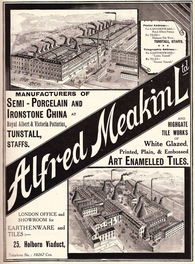 Alfred Meakin (Tunstall) Ltd, Stoke-on-Trent, England  from thepotteries.org