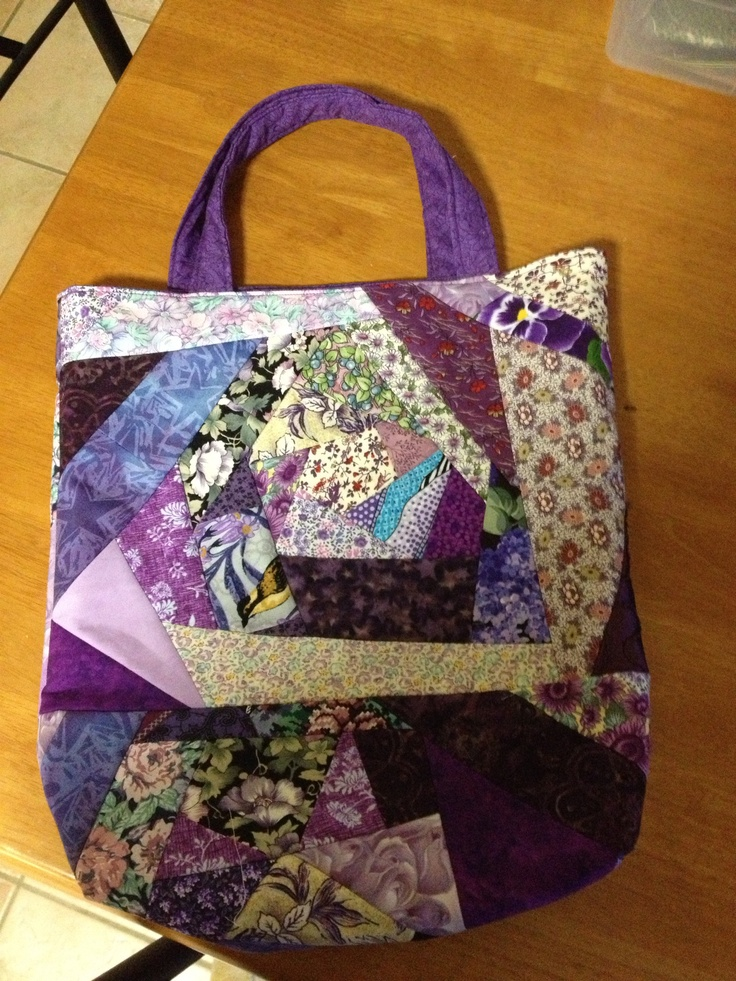 My first crazy patchwork bag. Purple of course.