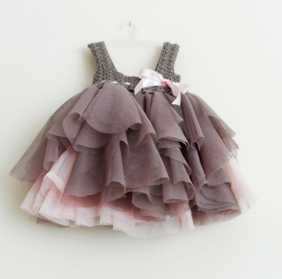 CUSTOM ORDER  for Sherley. Light Brown and Pink Baby Tulle Dress with Stretch Crochet Top and Cup sleeves.