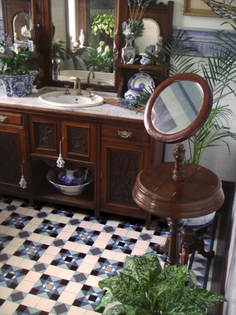 Old World European style bathroom with Winckelmans tile floor + Herbeau Pompadour faucet