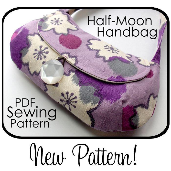 Free Printable Purse Patterns | Free Printable Purse Patterns | Half-Moon Handbag Sewing Pattern ...