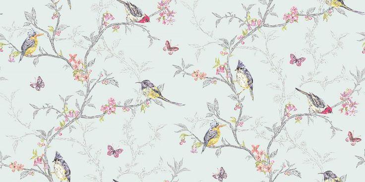 Da la bienvenida a la primavera con este papel pintado romántico de pájaros y florecillas con este color 'duck egg' ¿Dónde? En papelpintadobarato.es