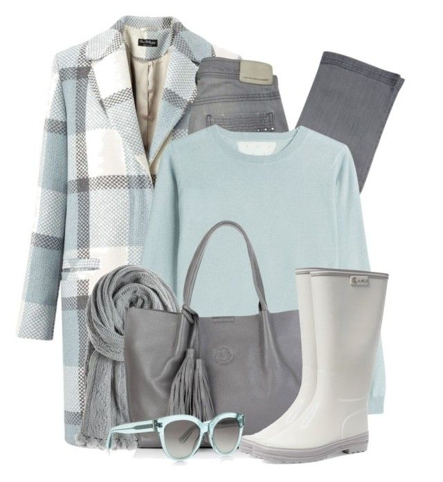 """Checked Coat & Rain Boots"" by brendariley-1 ❤ liked on Polyvore featuring Miss Selfridge, Comptoir Des Cotonniers, RED Valentino, Calypso St. Barth, Nadia Minkoff, Aigle and BOSS Hugo Boss"