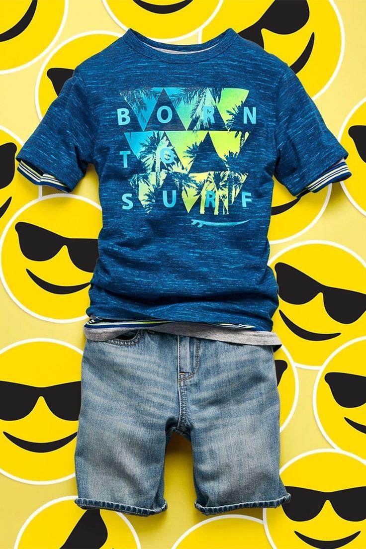 """Born To Surf""   Boys' fashion   Kids' clothes   5-pocket denim shorts   The Children's Place"
