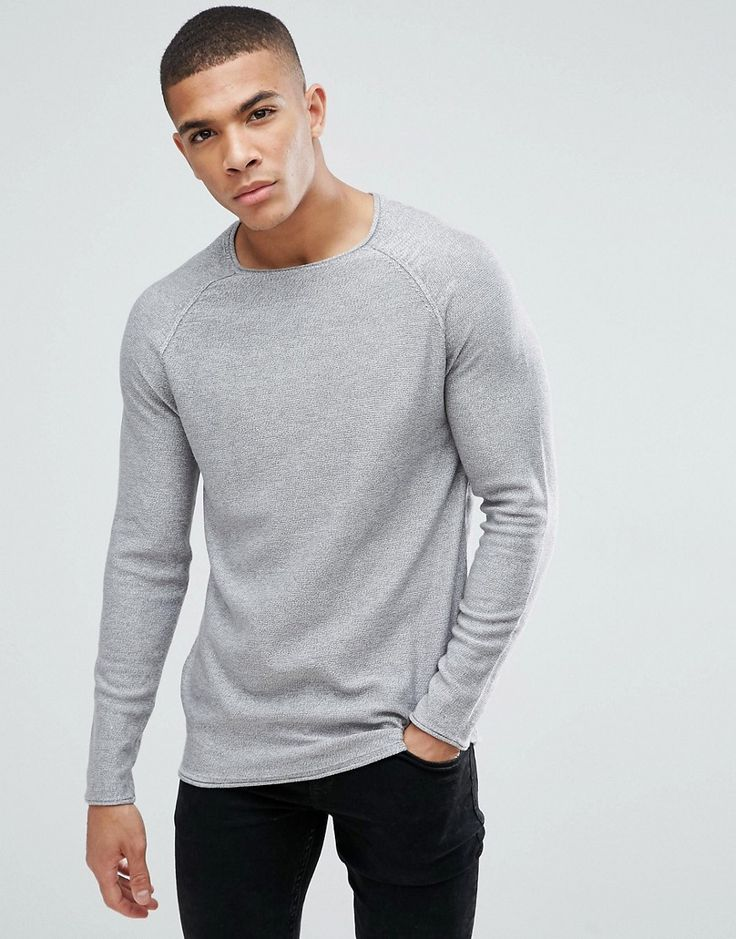 New Look Crew Neck Sweater In Light Gray - Silver