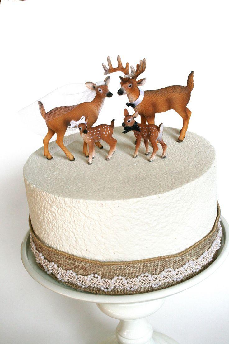 Family Redneck Cake Topper / Deer Cake Topper / Wedding Cake Topper / Rustic White Tail Deer Cake Topper by hawthornehill on Etsy https://www.etsy.com/listing/208845688/family-redneck-cake-topper-deer-cake