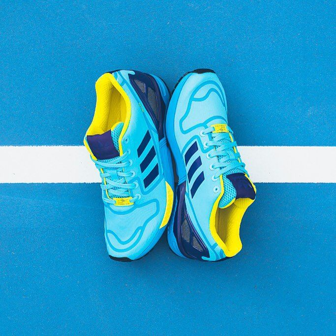 Adidas Flux October Breathable Running Shoes Blue Mens Yellow Casual Well Shape