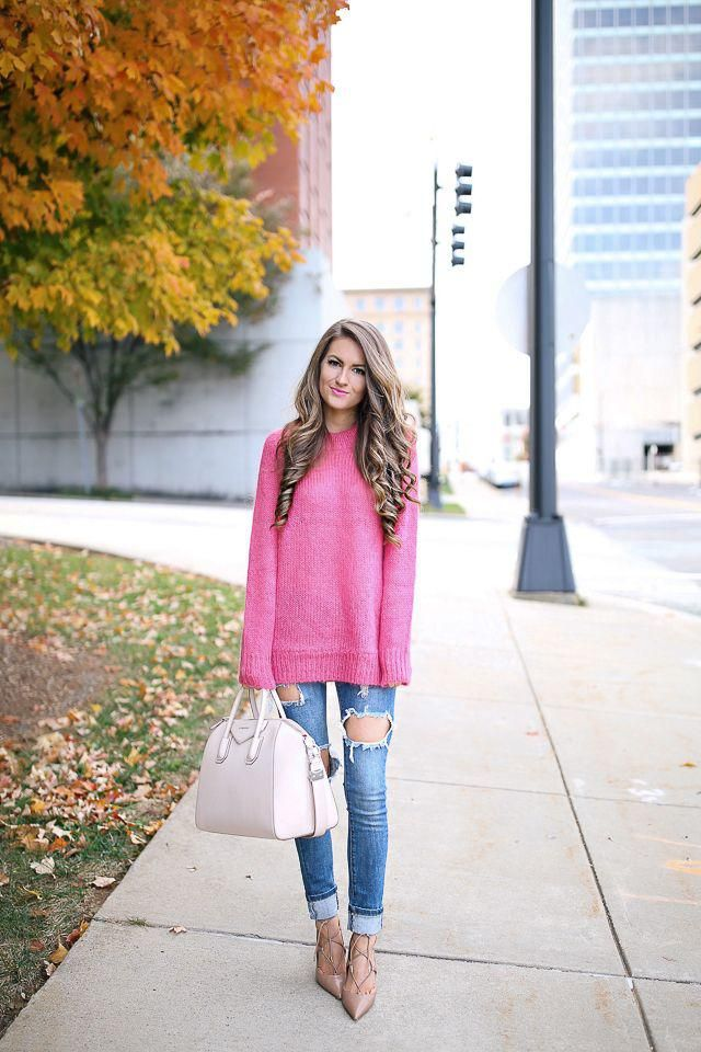 Skinny Jeans Denim Dark Blue Jeans and pink sweater,buy here