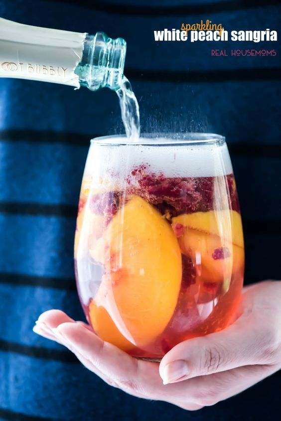 Sparkling White Peach Sangria is a great brunch or summer cocktail!