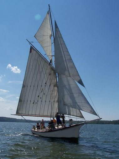 Momentum is BMC's 42 foot Friendship sloop, a type of gaff-rigged sloop that originated in Friendship, Maine, around 1880.