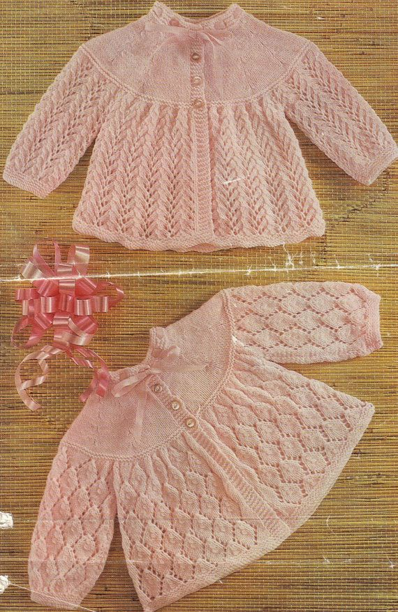 Knit Baby Matinee Jackets Vintage Knitting Pattern 17-19 inch chest Cardigan tunic dress lacey pinafore jumper PDF Instant Download