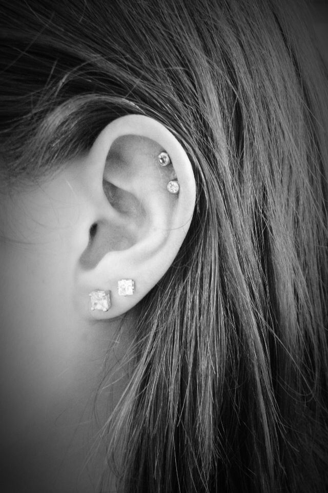 Double Lobe And Double Cartilage Piercings Ears