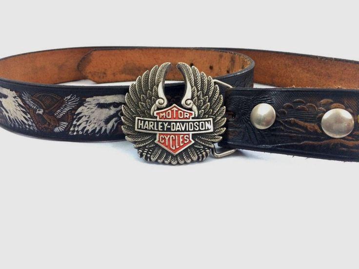 """Vintage Men's Harley Davidson Belt Buckle Solid Brass With Leather Eagle Belt 1983 50"""" With Buckle Biker by LakesideVintageShop on Etsy"""