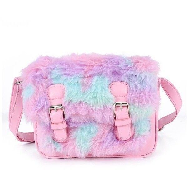 Pastel Vegan Fur Messenger Bag ❤ liked on Polyvore featuring bags, messenger bags, pastel pink bag, vegan bags, courier bags and faux-leather bags