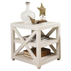 Perfect Distressed End Table With Openwork Sides. Product: End Table Construction  Material: Wood Color