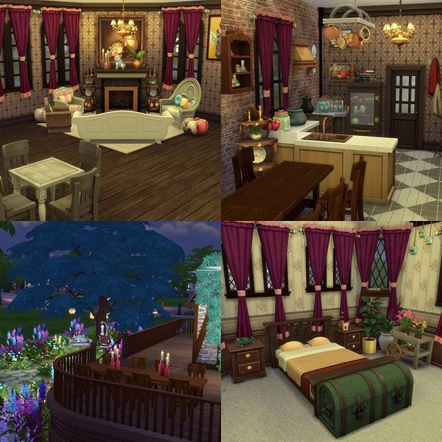 A few interior shots of my #harrypotter inspired build of #theweasleys #burrow. The lounge/entry, Kitchen, backyard and Molly and Arthur's room.  I've loved building this so much and adding small details that make me think of the books. Feel free to download it on #thesims4 gallery, find me under JazPark5 ✌🏻️❤️