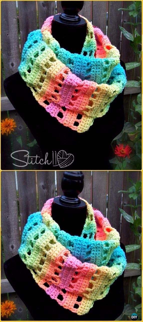 Crochet Jumping Retro Infinity Scarf Free Pattern - Crochet Infinity Scarf Free Patterns